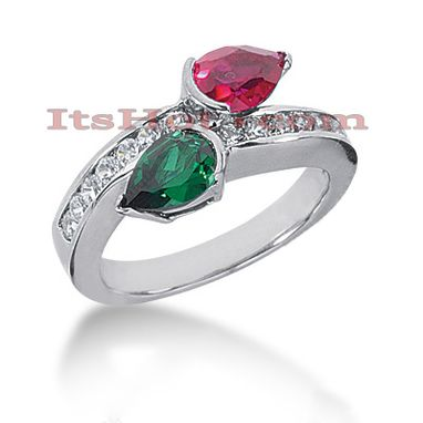 Custom Made Designer Ruby And Emerald Diamond Ring