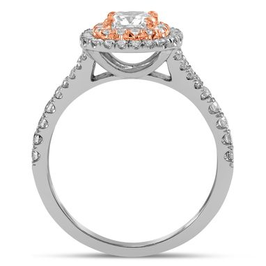 Custom Made 2.15ctw Cushion Cut Double Halo Style Diamond Engagement Ring