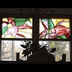 "Custom Made ""Blest Are They"" (Orchid) Dining Room Stained Glass Windows"