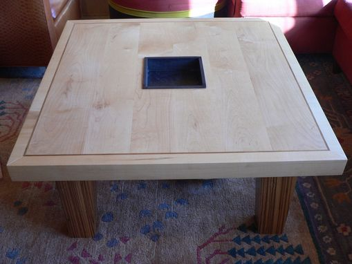 Custom Made Maple Coffee Table With Zebrawood Legs
