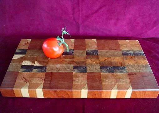 Custom Made Patchwork Mixed Wood End Grain Chopping Board, Butcher Block, Island
