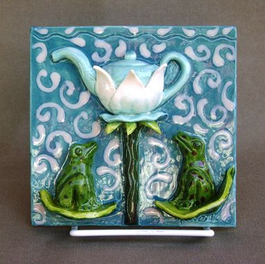 Custom Made Froggy Flower Tea 3-D Tile