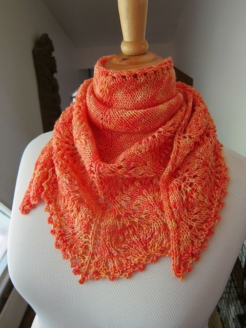 Hand Made Hand Knitted Ostrich Lace Triangular Scarf/Shawl by Passionate Knit...