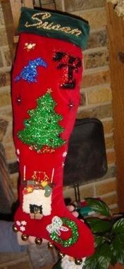 "Custom Made 1950""S Neiman Marcus Inspired Christmas Stocking - Red / Green"