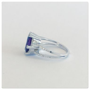 Custom Made Custom Made 14k Womens White Gold Diamond With Oval Shape Amethyst Ring