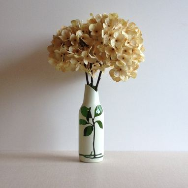 Custom Made Glass Bud Vase, Upcycled Home Decor, Botanical Leaves And Roots