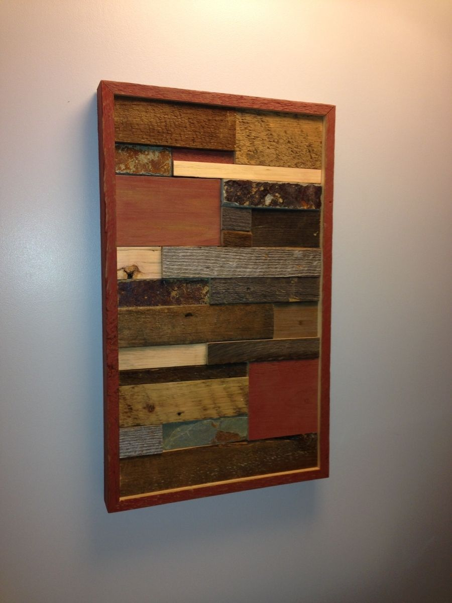 Handmade barnwood wall art with tile accent by ore dock for Barnwood decor