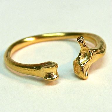 Custom Made Gold Vermeil Adjustable Rat And Snake Bone Ring Customizable