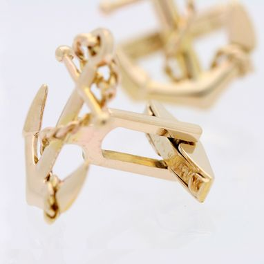 Custom Made Gold Anchor And Rope Cufflinks
