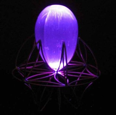 "Custom Made 4"" Selenite Egg Cradled In Flower Of Life Stand And Indigo Colored Led"