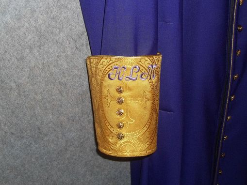 Custom Made Cassock Made From Purple Super 120 Wool, Antique Gold Embroidered Clergy Cloth