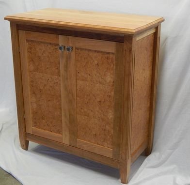Custom Made Maple Burl And Cherry Cabinet