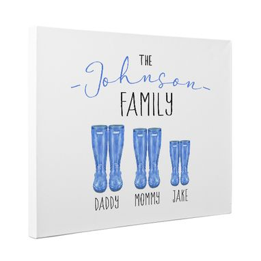 Custom Made Personalized Rain Boots Family Canvas Wall Art