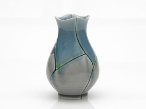 Custom Made Blue And Grey Bud Vase Lotus Design With Yellow Splashes
