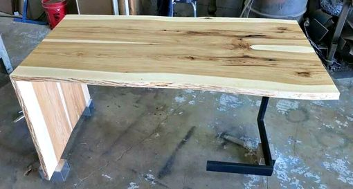 Custom Made Book Matched Hickory And Steel Desk