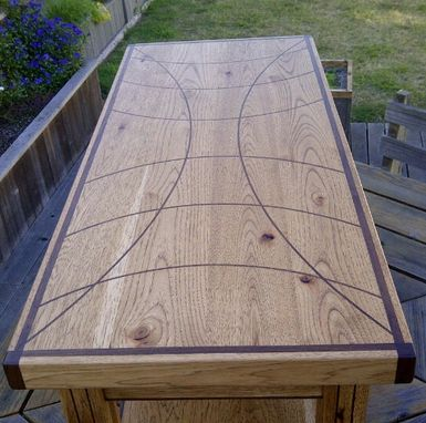 Custom Made Sweeping Curves And Grid-Style Inlaid Coffee Table