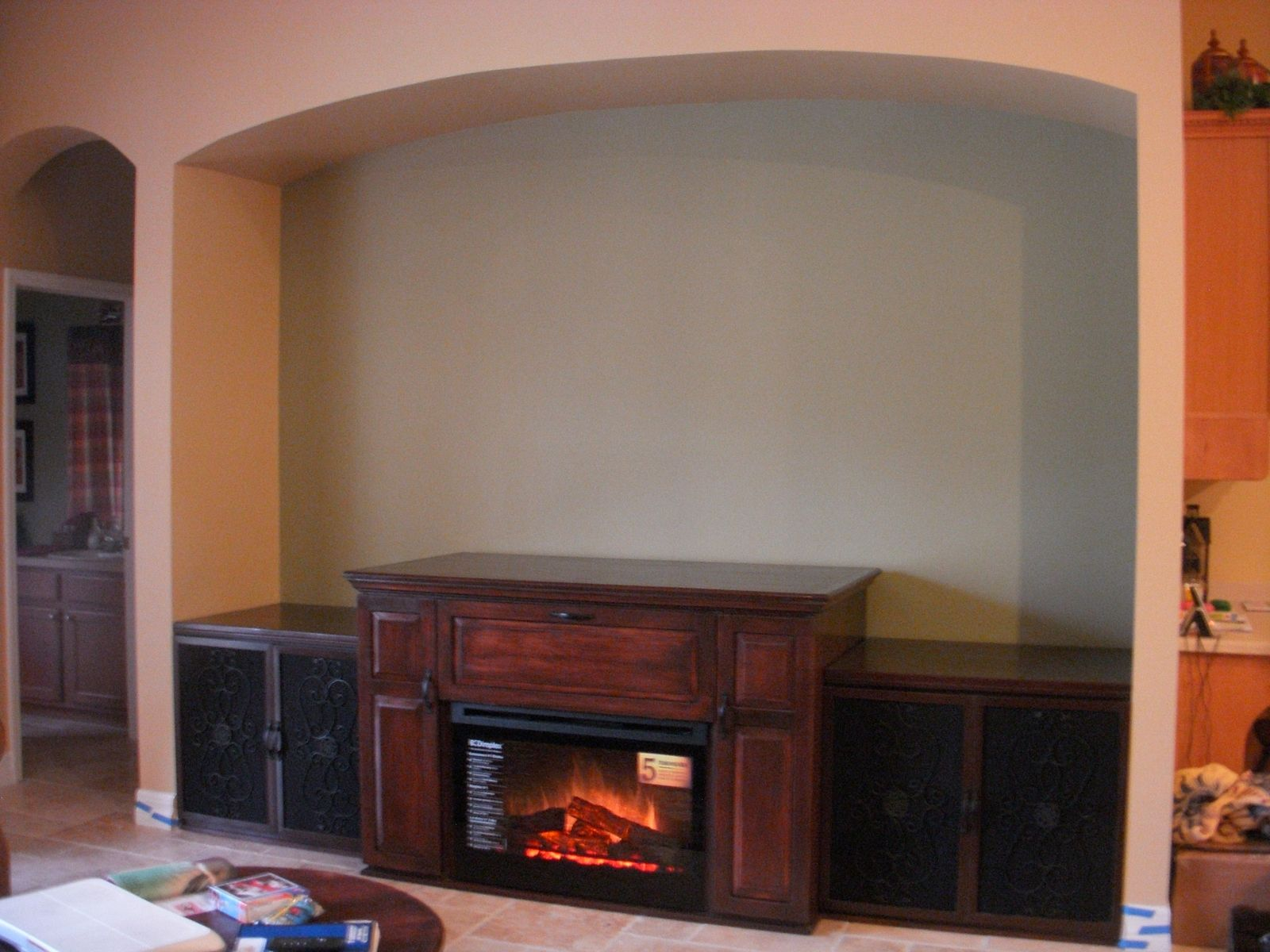 Custom Made Maple Entertainment Center With Electric Fireplace by ...