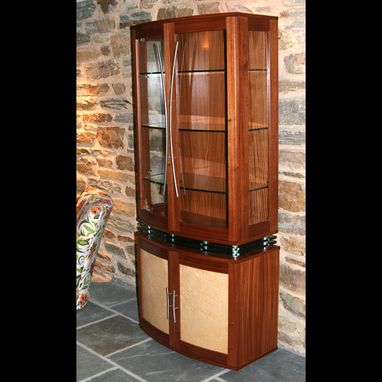 Custom Made China Cabinet Art Deco Style, Modern Display Cabinet, Quilted Maple, Curved Front