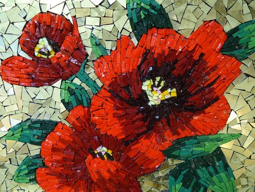 Custom Made Mosaic Red Flower Wall Art