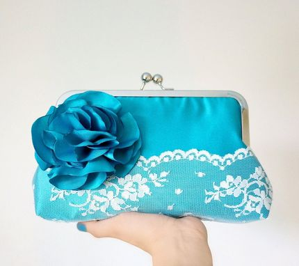 Custom Made 8 Handmade Teal Satin Flowers