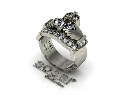 Custom Made 14 Kt Claddagh Diamond Engagement And Wedding Ring Set