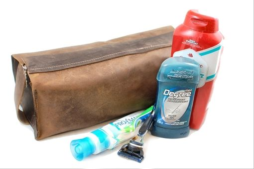 Custom Made Men'S Leather Toiletry Case And Shaving Bag – Removable Waterproof Lining