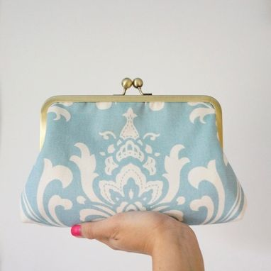 Custom Made Blue Damask Print Clutch Purse With Peach Floral Accent