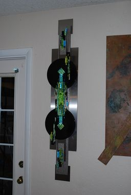 Custom Made Large Fused Dichroic Glass And Steel Sculture