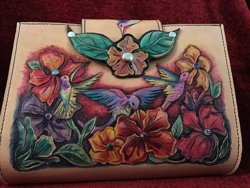Custom Made Tooled Leather Hummingbird Purse With Sworvski Rivets