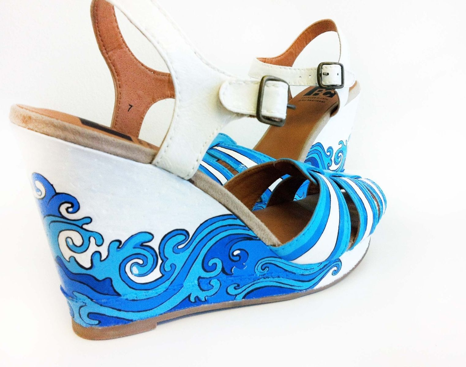 Custom Made Summer Hand Painted Shoes Wedding Blue Wedges Bridal