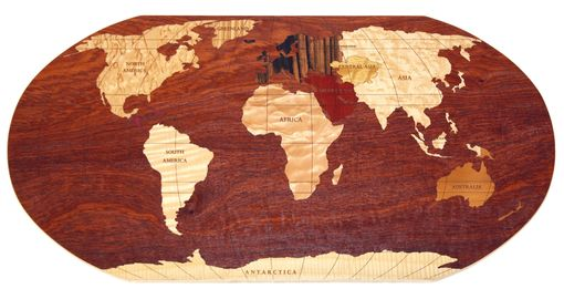 "Custom Made Padauk World Map 12"" X 24"""