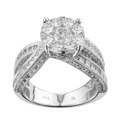 Custom Made Unique Micropave Center Stones Engagement Ring