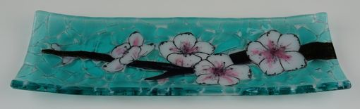 Custom Made Cherry Blossom B- Fused Glass Channel Plate