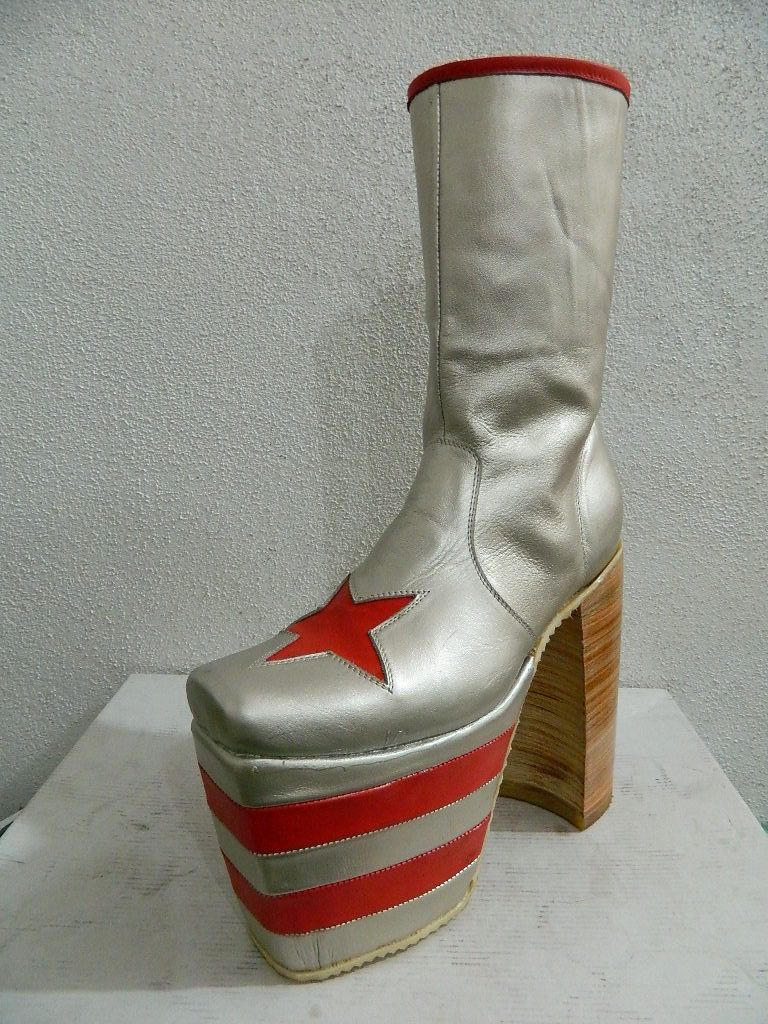 Hand Crafted Platform Glam Rock Era Boots Made Of Leather