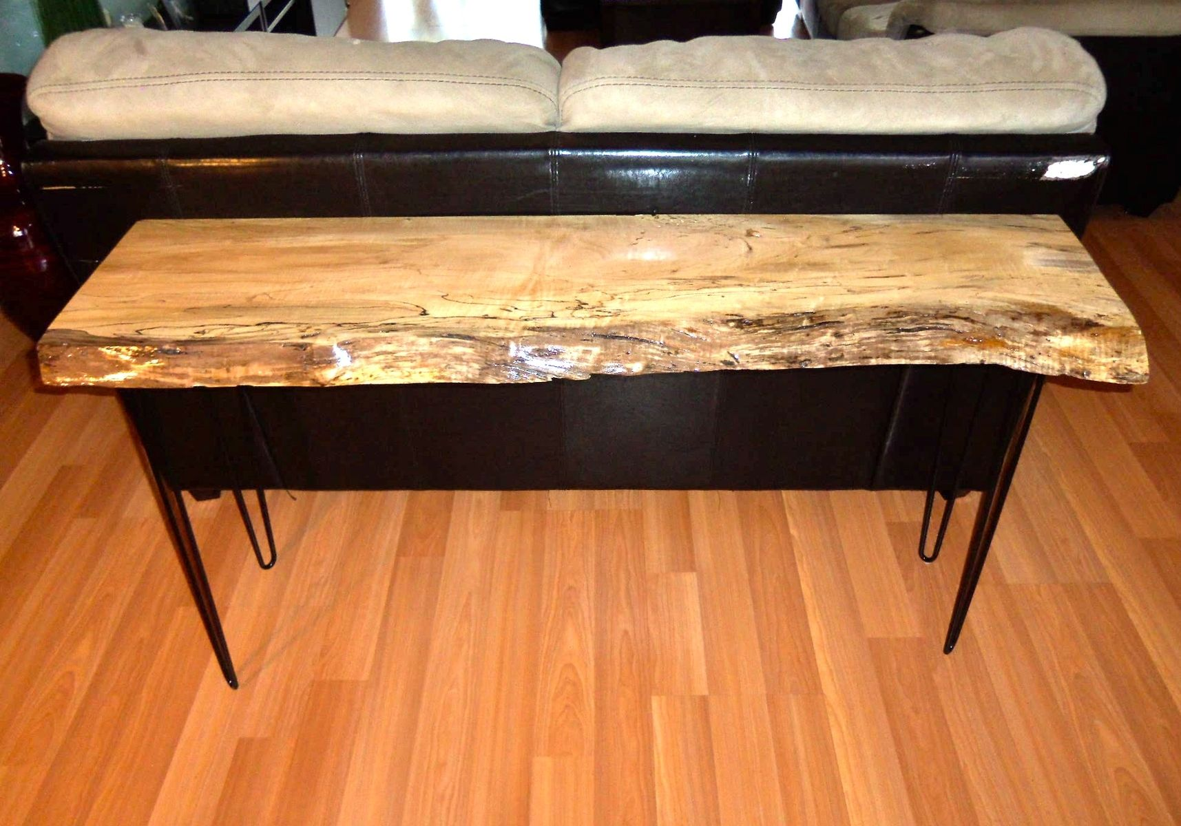 hand made sofa table live edge sugar maple by ozma design slab sofa table Small Slab Tables