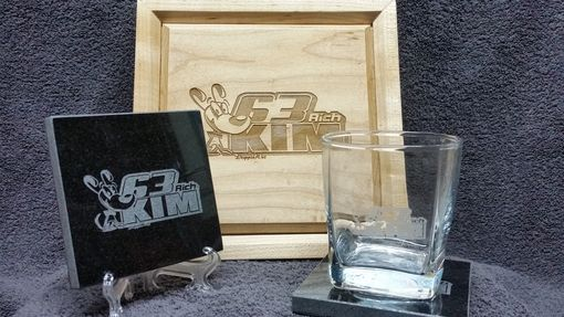 Custom Made Your Logo Engraved On Decanter Rocks Glasses Shot Glasses  Granite Coasters And A Presentation Case