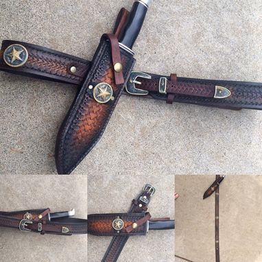 Custom Made Leather Ranger Belt And Matching Knife Sheath Combo