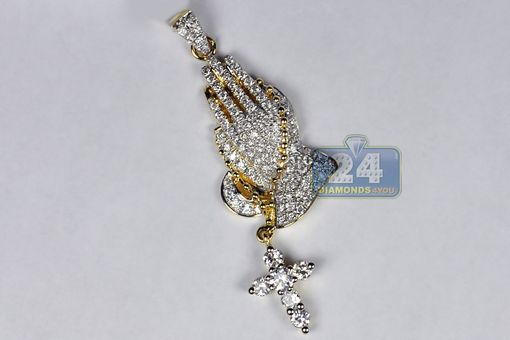 Custom Made Mens Diamond Praying Hands Cross Pendant 14k Yellow Gold 1.23 Ct