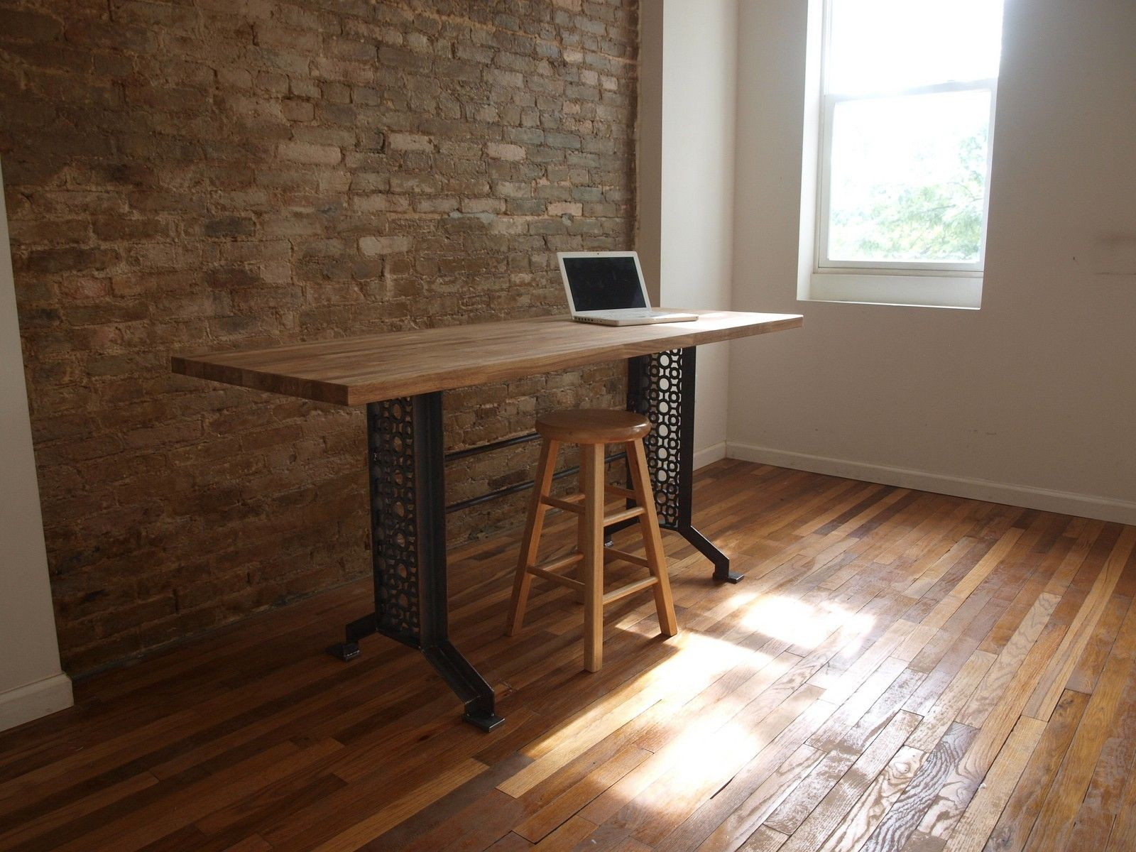 Custom Made Industrial Desk Table Metal Iron Base By