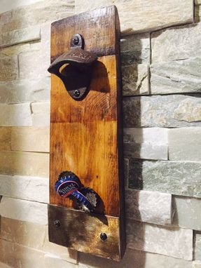 Custom Made Wine Barrel Handmade Stave Bottle Opener With Magnetic Cap-Catcher