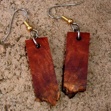 Custom Made Ultra Light Manzanita Burl Earrings With Natural Edges..Mm 01