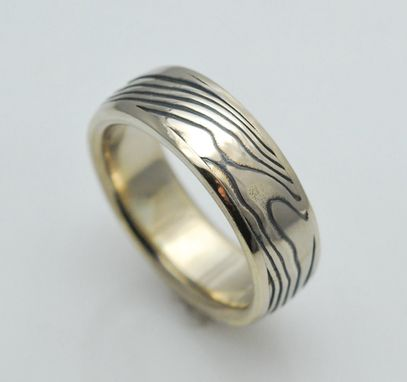 Custom Made Wood Grain Mokume Gane Ring In White Metal Combination