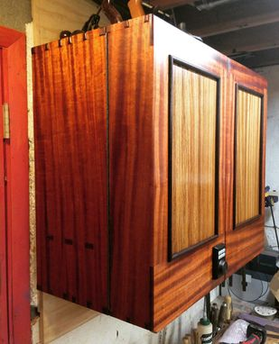 Custom Made African Mahogany And Zebrawood Cabinet With Wenge Trim