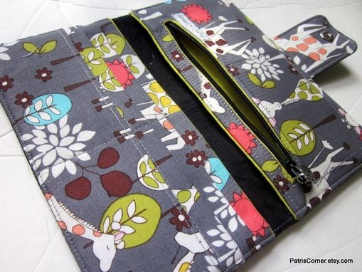 Custom Made Handmade Women Black Faux Leather Wallet With Giraffe Garden