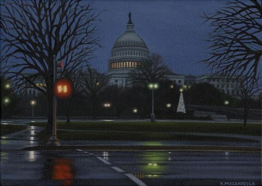 "Custom Made ""United States Capitol In December"" Oil Painting"