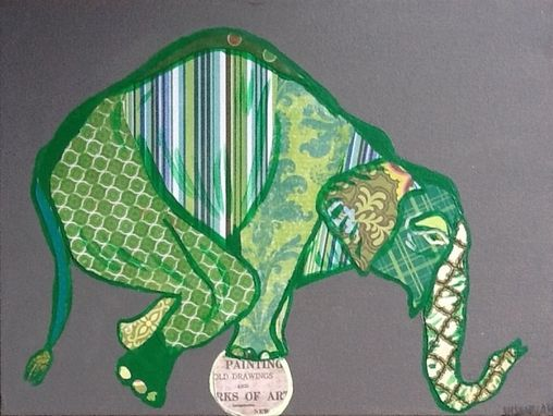 Custom Made Green Circus Elephant On Ball Original Painting Collage