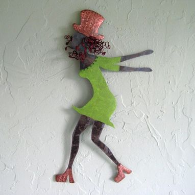 Custom Made Handmade Upcycled Metal Red-Headed Dancer Wall Art Sculpture