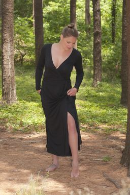 Custom Made Wrap Maxi Dress In Black Or Rich Olive Bamboo