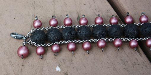 Custom Made Lava Rock Up-Cycled Beaded Chain Bracelet