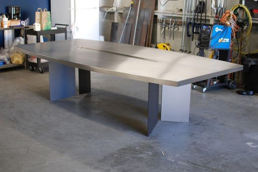 Custom Made Chevron Stainless Steel Dining/Conference Table With Inset Planter